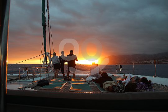 Enjoying sunset on Madeira catmaran tour