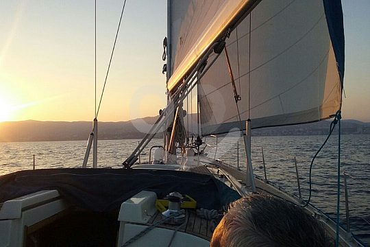 Sailing sunset Mallorca