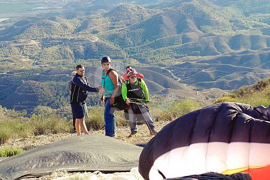 start of the tandem paragliding