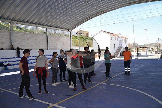children in Malaga at archery