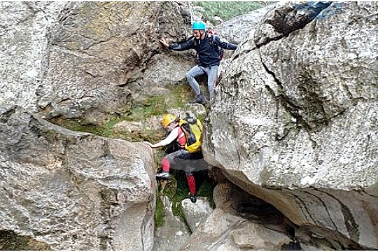 climbing in Torrent de Pareis