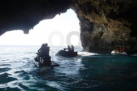 sea cave in Porto Colom by jet ski