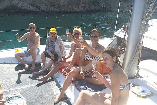 celebrate on a catamaran for charter in Mallorca