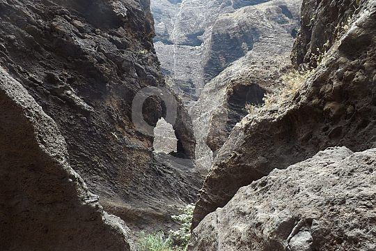 Trekking in the gorge of Masca