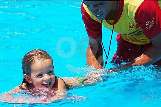 Life guard with a child