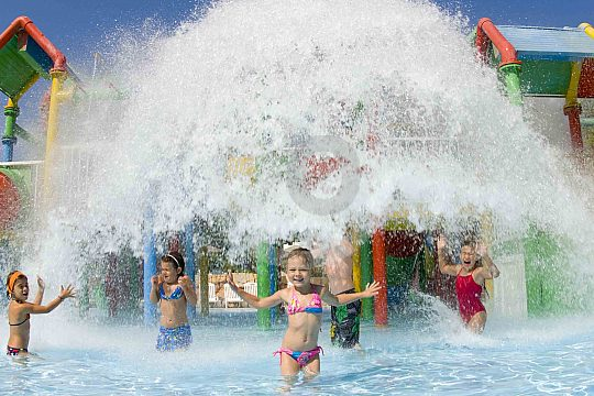 Children play in the Waterland in Western Water Park Mallorca