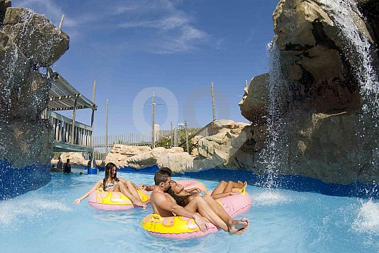 Floating on the Wild River in the Western Water Park Magaluf