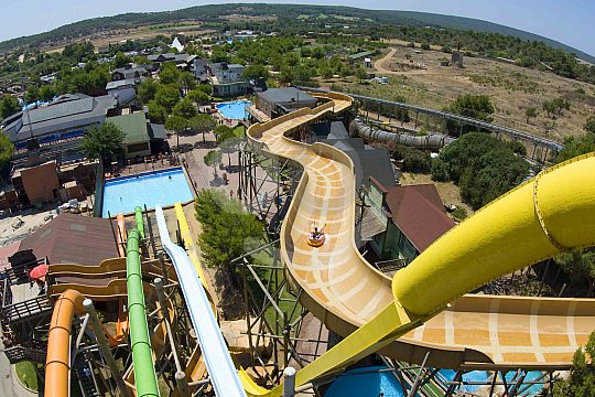 The exciting slides in the Western Water Park in Magaluf