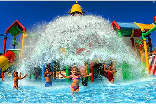 Children in the water park