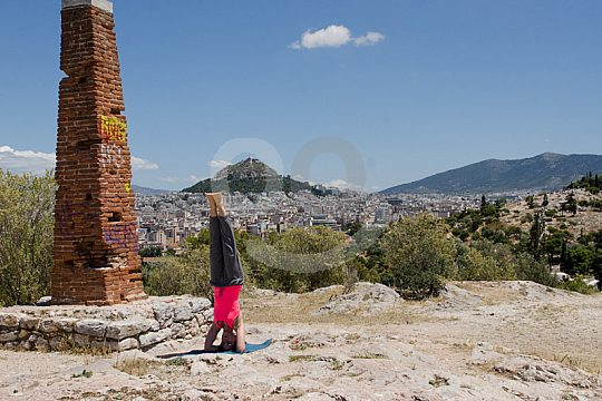 yoga lessons during Athens bicycle tour