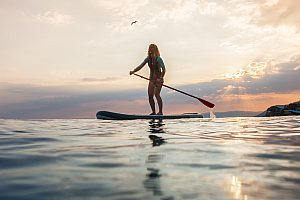 Water sports in Liguria - by kayak or SUP from Recco beach to Punta Chiappa