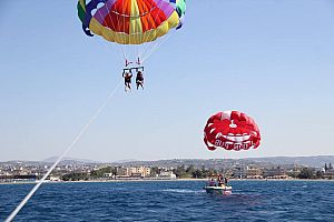 Parasailing on Crete as a great experience over the Mediterranean Sea, Heraklion