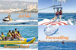 Water sports combo in Mallorca for 2: Go parasailing, jet skiing and banana boat riding in Arenal