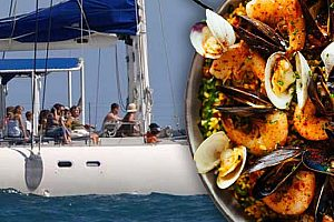 Catamaran trip with paella from Gandia port in the province of Valencia