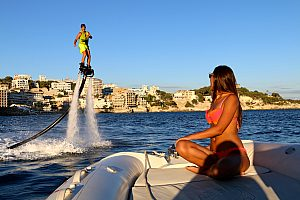 Have bundles of fun on a fly-board in Mallorca: Wicked water-sports in Calanova