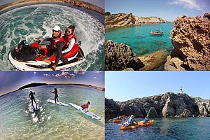 Watersports package: speedboat, kayak tour, jet ski or paddle surf in Menorca