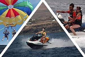 Action watersports package: parasailing and jet skiing in Lanzarote south