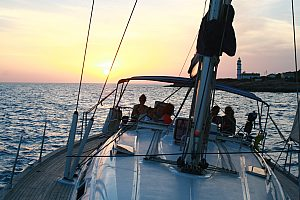 Exclusive yacht charter in Mallorca (southeast) during the sunset