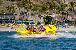 Speed boat in the south of Gran Canaria at Anfi del Mar beach