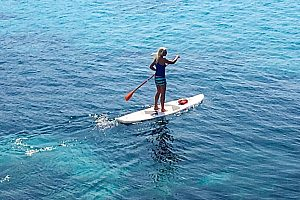 SUP-Tour in Majorca Southwest through the bay of Sant Elm