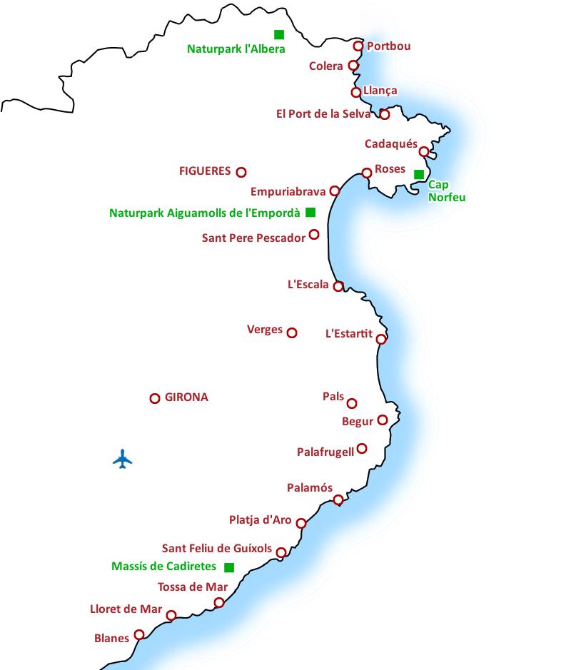 Costa Brava Costa Dorada Karte.Ausfluge Touren Freizeitaktivitaten An Der Costa Brava