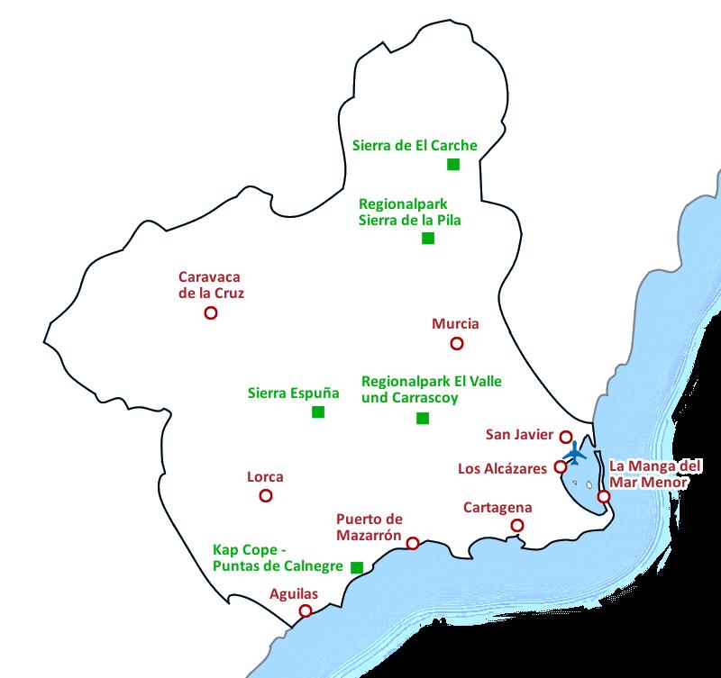 Karte Costa Cálida