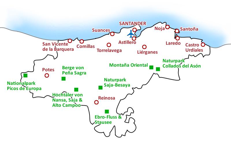 Karte Costa de Cantabria