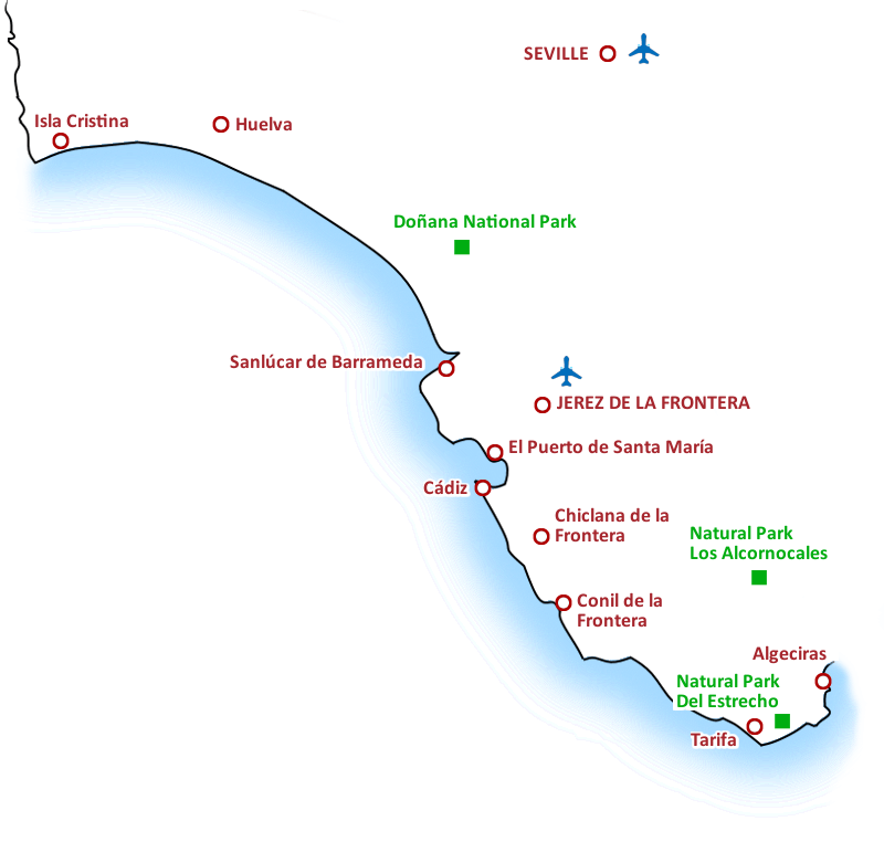 Costa De La Luz Spain Map.Tours Excursions And Things To Do In Costa De La Luz Sunbonoo Com