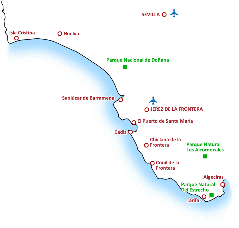 Mapa Costa de la Luz