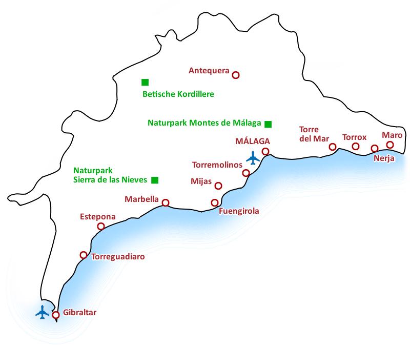 Karte Costa del Sol