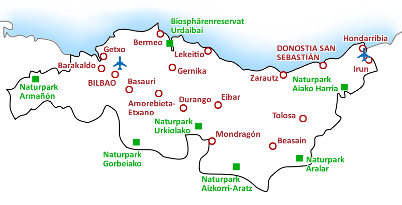Karte Costa Vasca