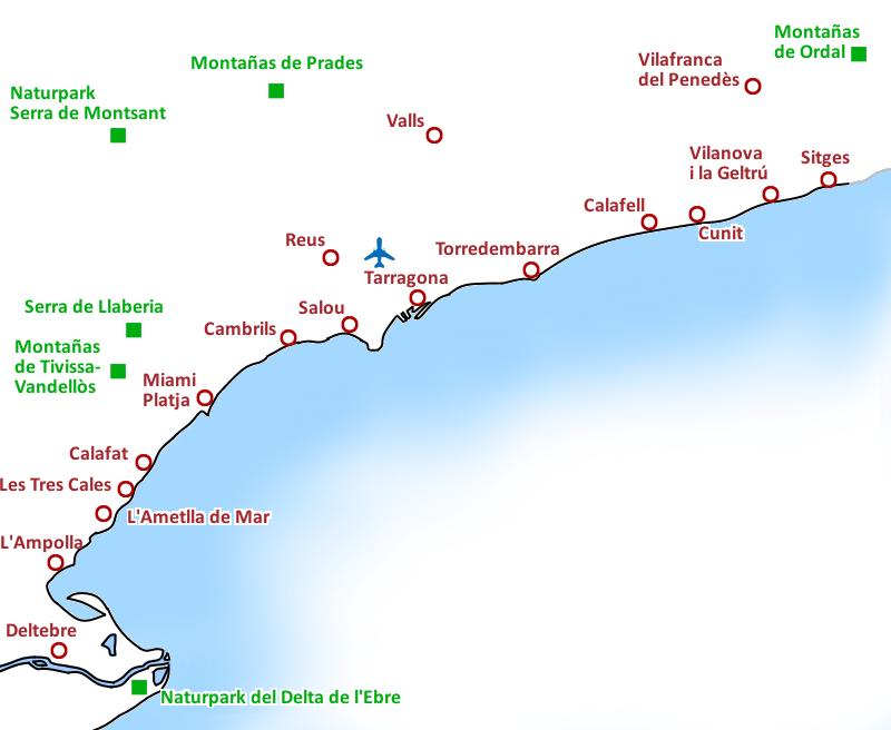 Costa Brava Costa Dorada Karte.Ausfluge Touren Freizeitaktivitaten Costa Dorada