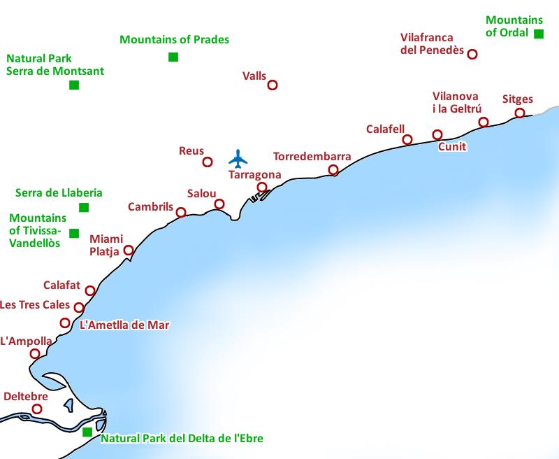 Mapa Costa Dorada