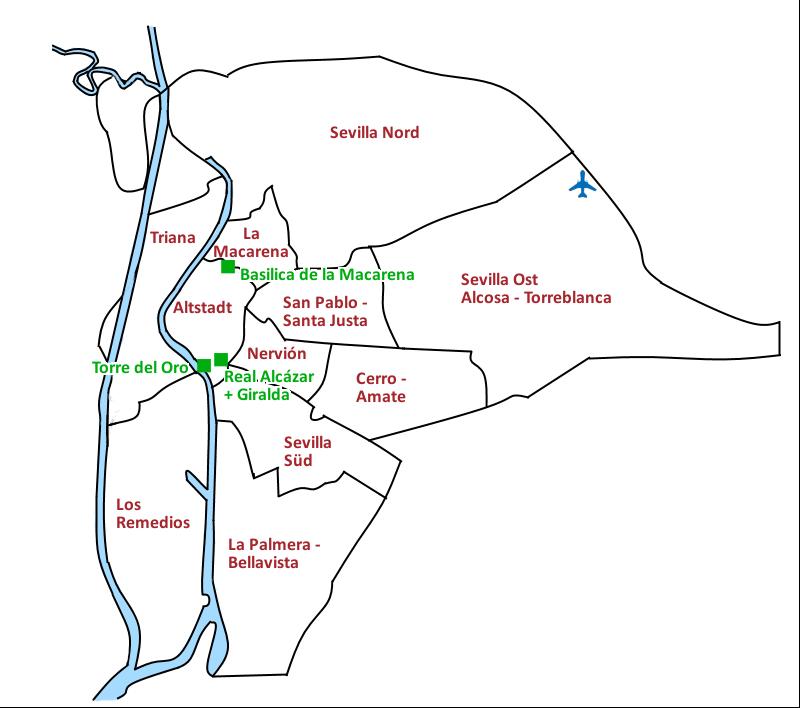 Karte Sevilla